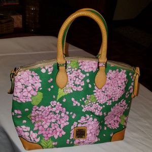 DOONEY BOURKE FLOWERED COATED CANVAS TOTE